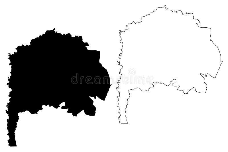 Ejemplo del vector del mapa del Reino Hachemita de Jordania del Governorate de Irbid, mapa de Irbed del bosquejo del garabato ilustración del vector