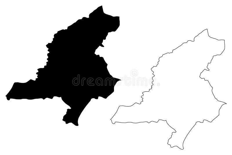 Ejemplo del vector del mapa del Reino Hachemita de Jordania del Governorate de Jerash, mapa de Jerash del bosquejo del garabato ilustración del vector