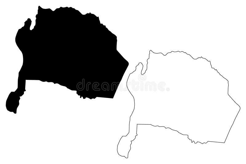 Ejemplo del vector del mapa del Reino Hachemita de Jordania del Governorate de Karak, mapa de Karak del bosquejo del garabato ilustración del vector