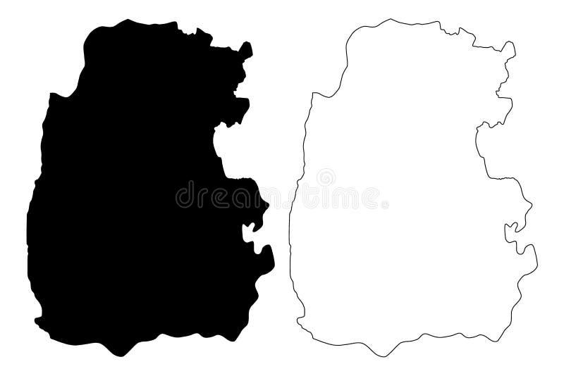Ejemplo del vector del mapa del Reino Hachemita de Jordania del Governorate de Madaba, mapa de Madaba del bosquejo del garabato ilustración del vector