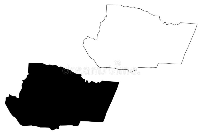 Ejemplo del vector del mapa del Reino Hachemita de Jordania del Governorate de Tafilah, mapa de Tafilah del bosquejo del garabato stock de ilustración