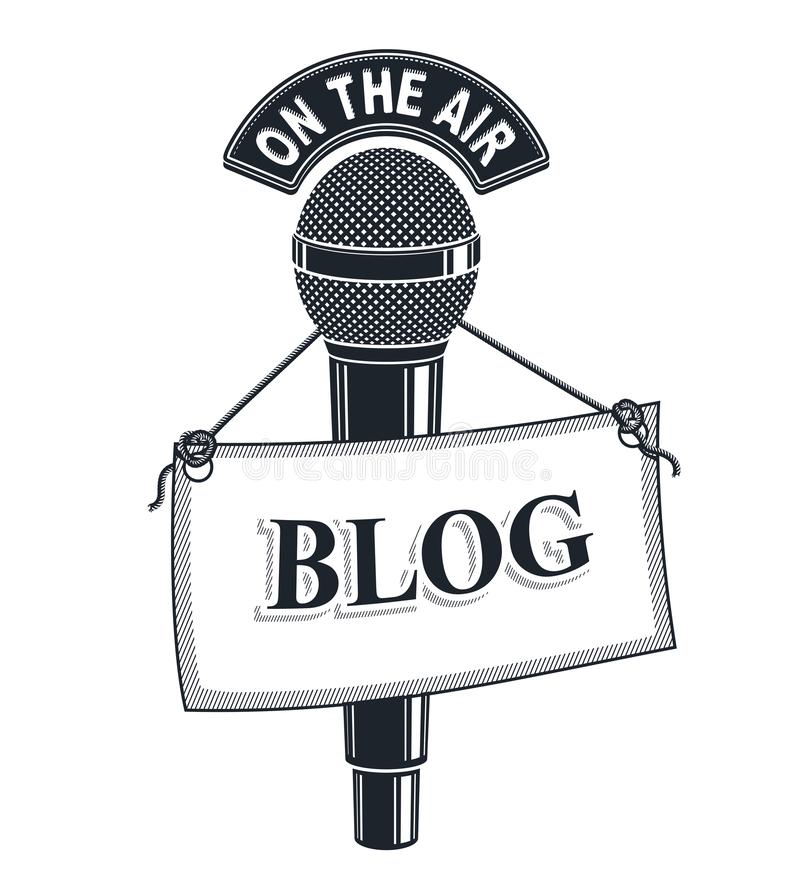 ejemplo del vector del micrófono 3d aislado en blanco con la etiqueta del blog Información de las noticias y de los hechos stock de ilustración
