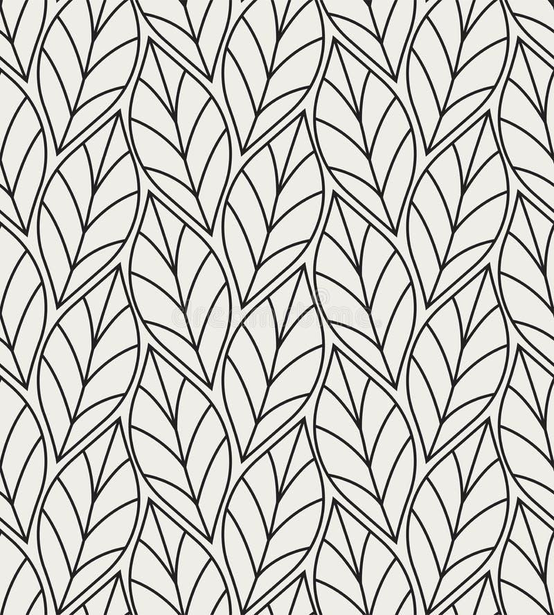 Ejemplo del vector del modelo inconsútil de las hojas Fondo orgánico floral Textura dibujada mano de la hoja stock de ilustración
