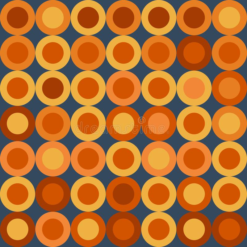 Ejemplo del vector: Modelo retro inconsútil con las ruedas amarillas y anaranjadas grandes en fondo azul marino stock de ilustración