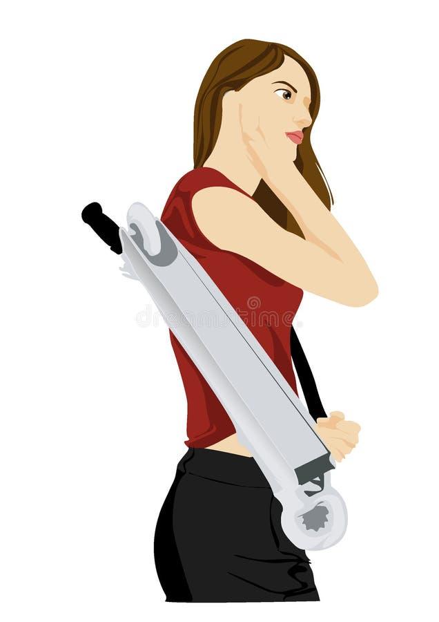Ejemplo, ejemplo del vector, muchacha que anda en monopatín stock de ilustración
