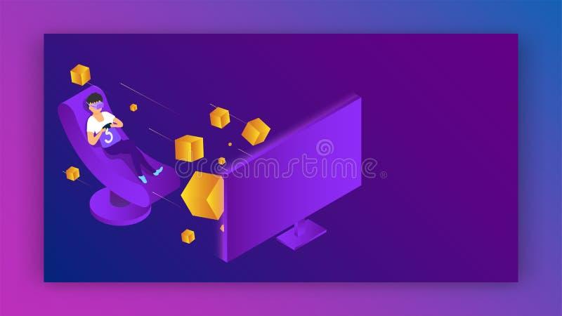 Ejemplo del vector del muchacho que lleva los vidrios de VR que juegan al videojuego en el ordenador para el concepto de la reali libre illustration