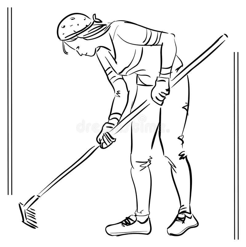 Ejemplo del vector - mujer con el rastrillo - el escardar libre illustration
