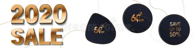 Ejemplo del vector del número feliz 2020 del oro del Año Nuevo de la rata con venta del brillo el 50 y 60 por ciento Cartel grand stock de ilustración