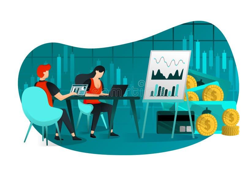 Ejemplo del vector del negocio, blanco, web, UI, elemento gente en hacer frente a venta del disco, y a finanzas de la compañía lo stock de ilustración