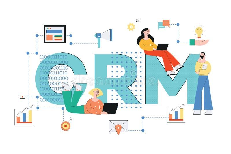 Ejemplo del vector del negocio del concepto de Crm con la gente y los iconos del análisis y del servicio ilustración del vector