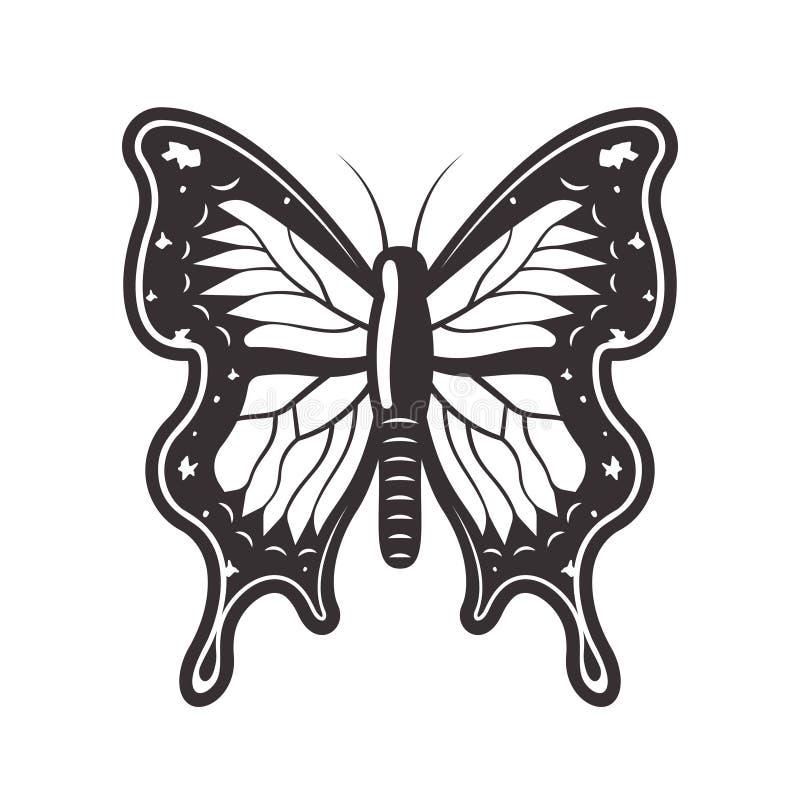 Ejemplo del vector del negro del estilo del tatuaje de la mariposa stock de ilustración