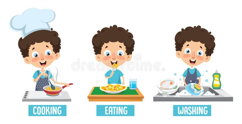 Ejemplo del vector del niño platos que cocina, de la consumición y el lavarse libre illustration