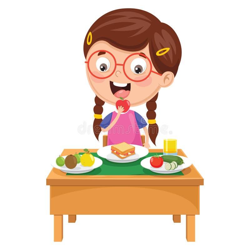 Ejemplo del vector del niño que desayuna fotografía de archivo