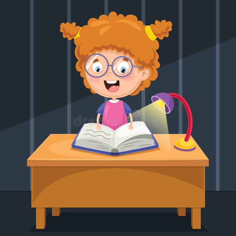 Ejemplo del vector del niño que estudia en la noche libre illustration