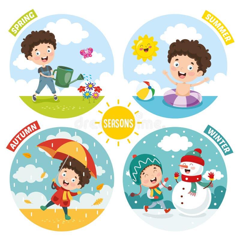 Ejemplo del vector del niño y de Four Seasons ilustración del vector