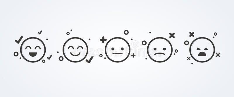 Ejemplo del vector del nivel de satisfacción Exti?ndase para evaluar las emociones de su contenido Reacci?n en la forma de emocio ilustración del vector