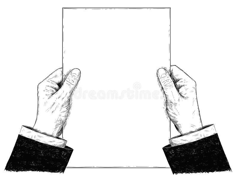 Ejemplo del vector o dibujo artístico de la hoja de papel de Hands Holding Blank del hombre de negocios stock de ilustración