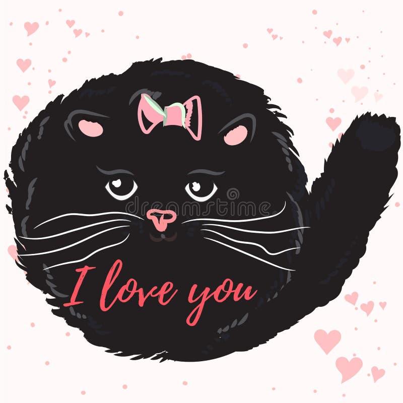 Ejemplo del vector o tarjeta lindo del día de tarjetas del día de San Valentín con el gato libre illustration