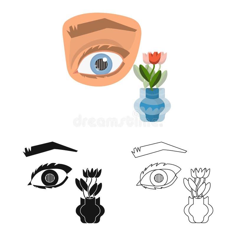 Ejemplo del vector del ojo y de la muestra pobre Fije de ojo y del s?mbolo com?n de la ceguera para la web ilustración del vector