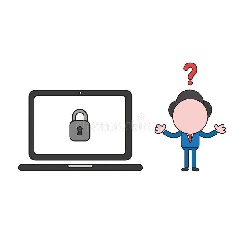 Ejemplo del vector del ordenador portátil confuso del ingenio del carácter del hombre de negocios y del candado cerrado Color y e stock de ilustración