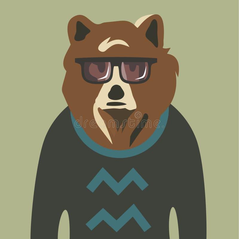 Ejemplo del vector del oso del inconformista en suéter stock de ilustración