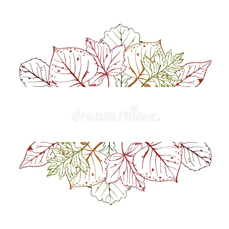 Ejemplo del vector del otoño con el marco para el texto, mano dibujada Ejemplo estacional con las hojas stock de ilustración