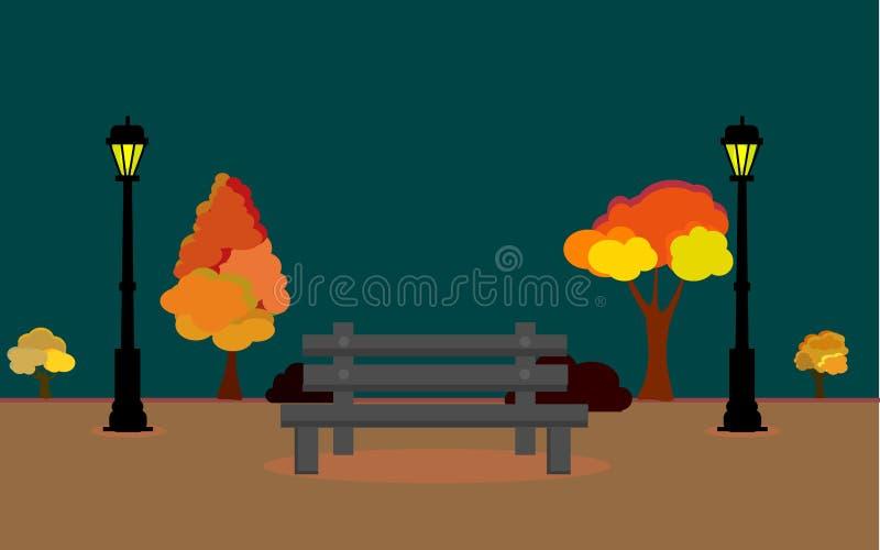 Ejemplo del vector del paisaje de Autum con la Luna Llena y las hojas que caen del árbol, campo del otoño del vector en el timee  libre illustration