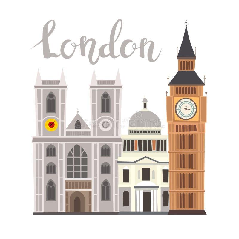 Ejemplo del vector del paisaje de la calle de Londres stock de ilustración