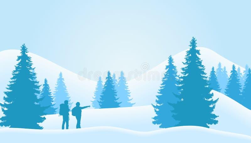 Ejemplo del vector del paisaje del invierno con el bosque conífero w stock de ilustración