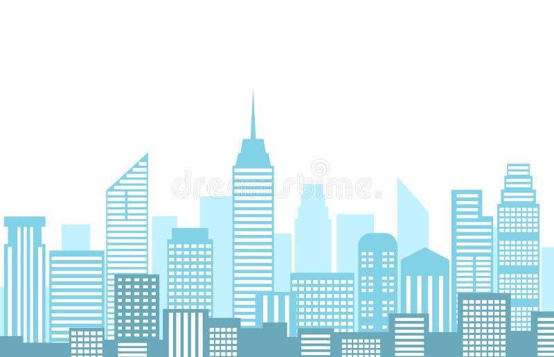 Ejemplo del vector del paisaje urbano con horizonte y el edificio de la ciudad ilustración del vector