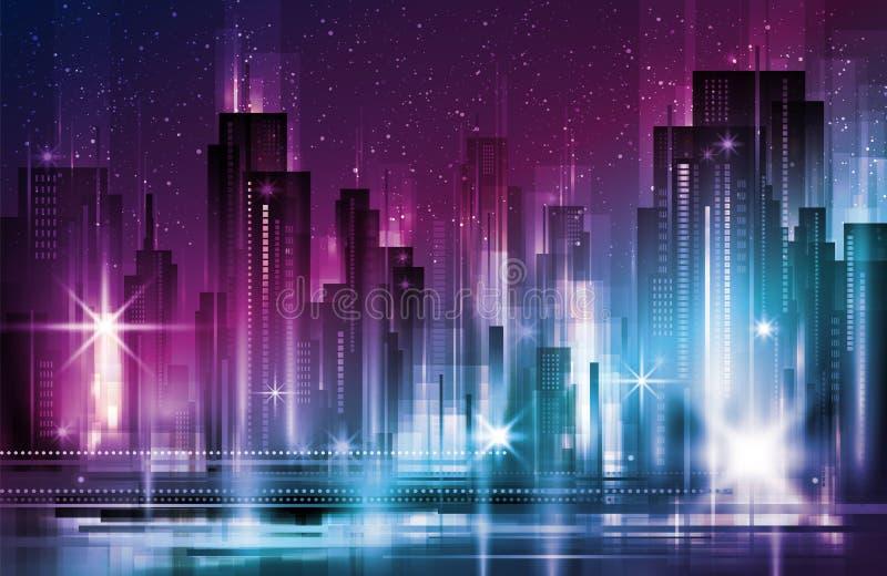 Ejemplo del vector del paisaje urbano de la ciudad de la noche Ciudad moderna grande con los rascacielos en noche con las luces ilustración del vector