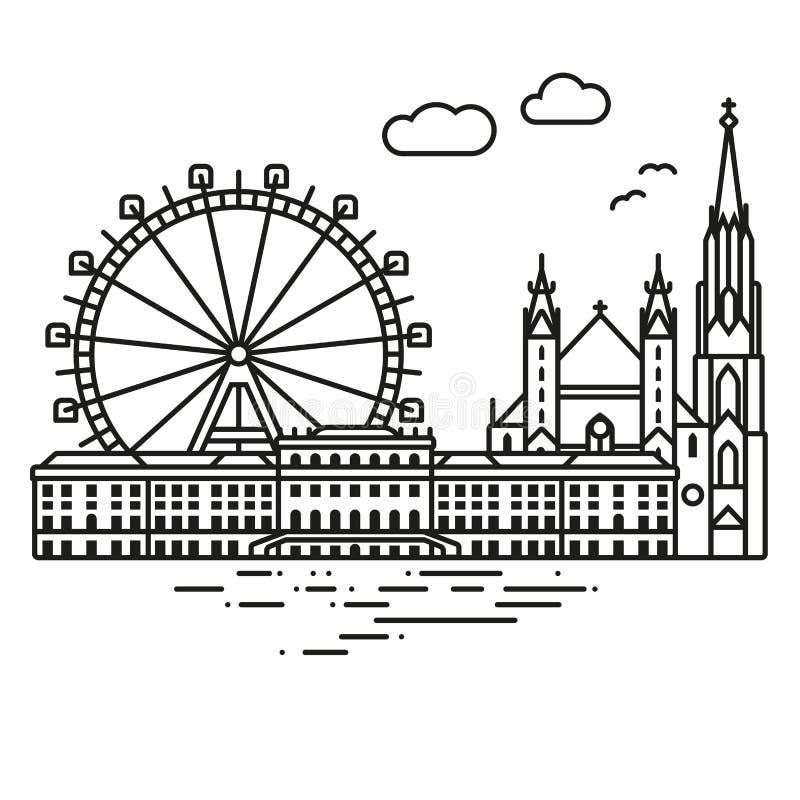 Ejemplo del vector del paisaje urbano de Viena ilustración del vector