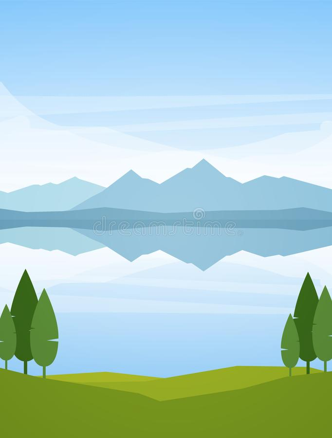 Ejemplo del vector: Paisaje vertical del lago mountains del verano con la reflexión y árboles en primero plano ilustración del vector