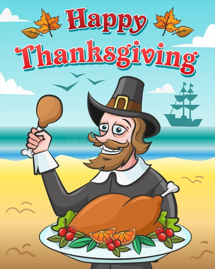 Ejemplo del vector para el día de la acción de gracias Peregrino feliz con el pavo cocido contra el océano stock de ilustración