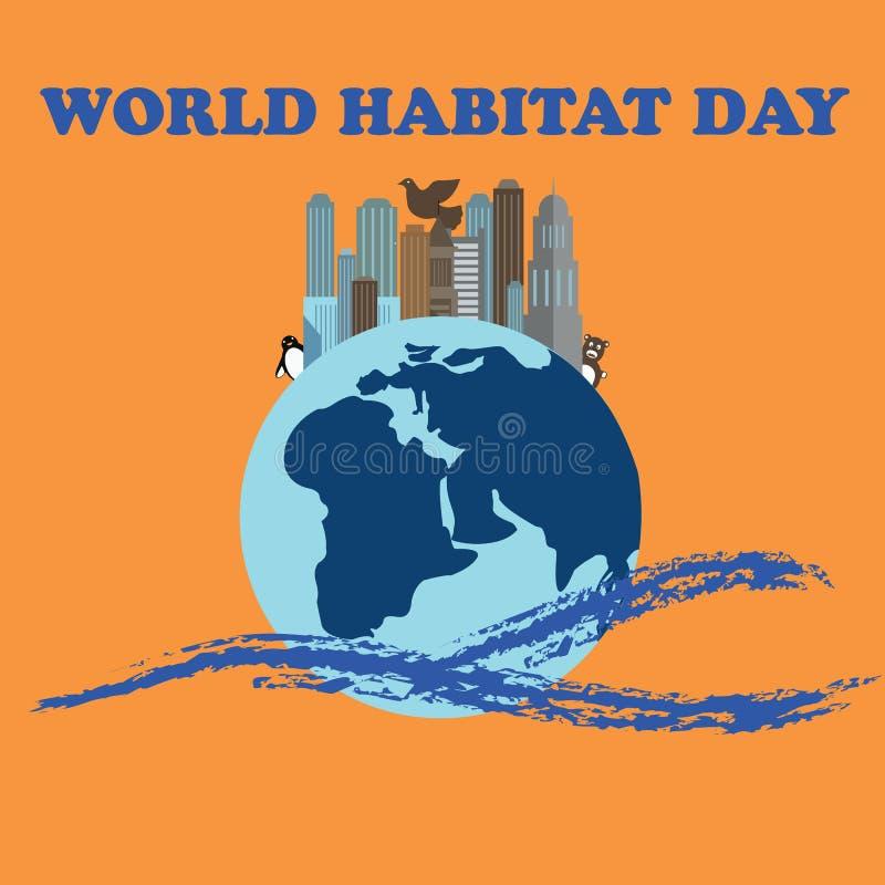 Ejemplo del vector para el día del hábitat del mundo Conveniente para la tarjeta, el cartel y la bandera de felicitación stock de ilustración