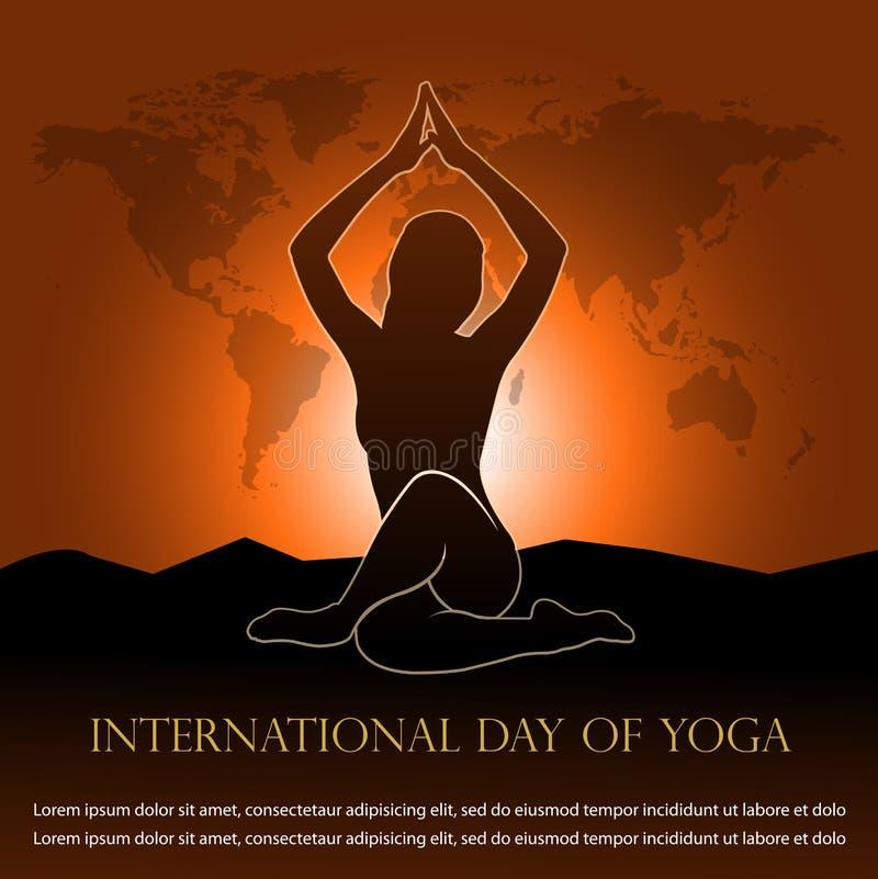 Ejemplo del vector para el día internacional de bandera de la yoga ilustración del vector