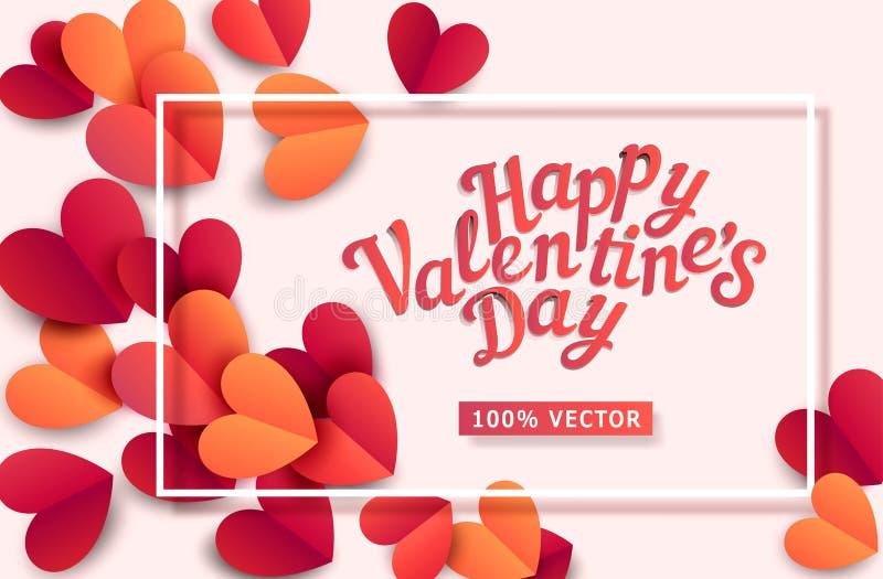 Ejemplo del vector para el día del ` s de la tarjeta del día de San Valentín Corazones tallados de pape stock de ilustración