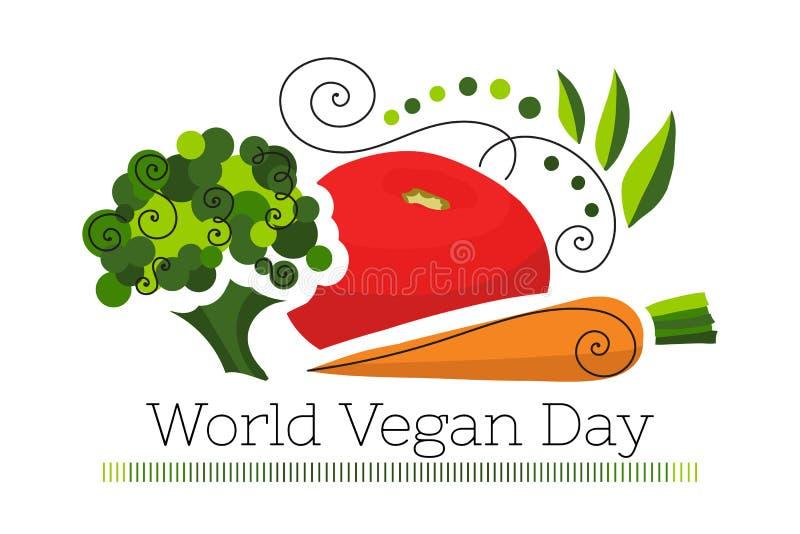 Ejemplo del vector para el día del vegano del mundo imagen de archivo