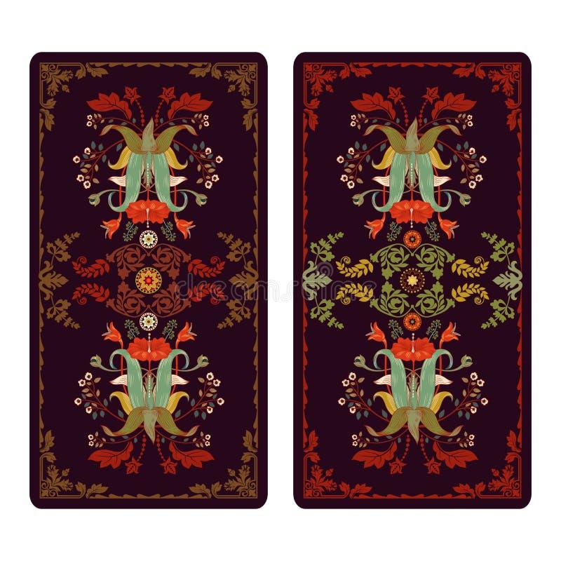 Ejemplo del vector para el tarot y los naipes Plantilla para las invitaciones, carteles stock de ilustración