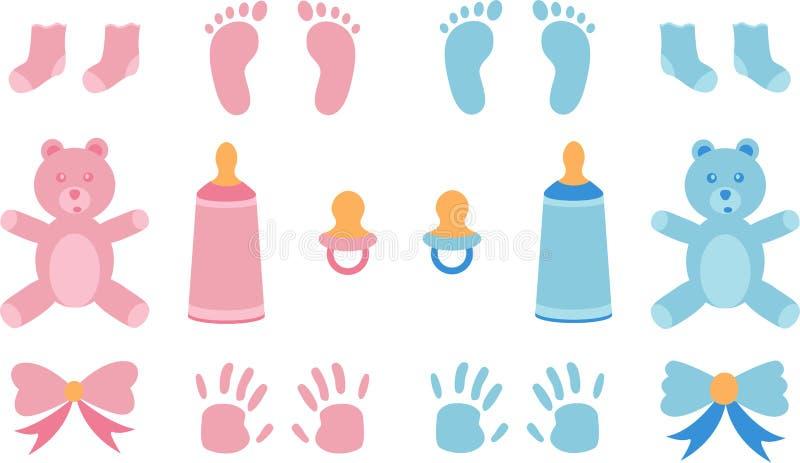 Ejemplo del vector para la ducha del bebé stock de ilustración