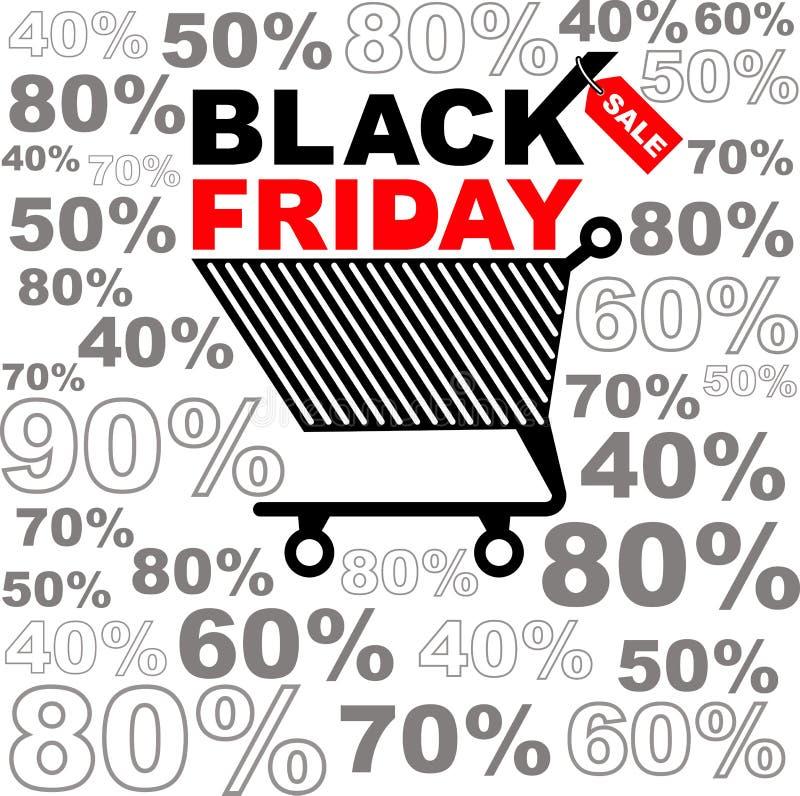Ejemplo del vector para la venta negra de viernes La etiqueta engomada o las banderas del descuento diseña Fondo negro de viernes ilustración del vector