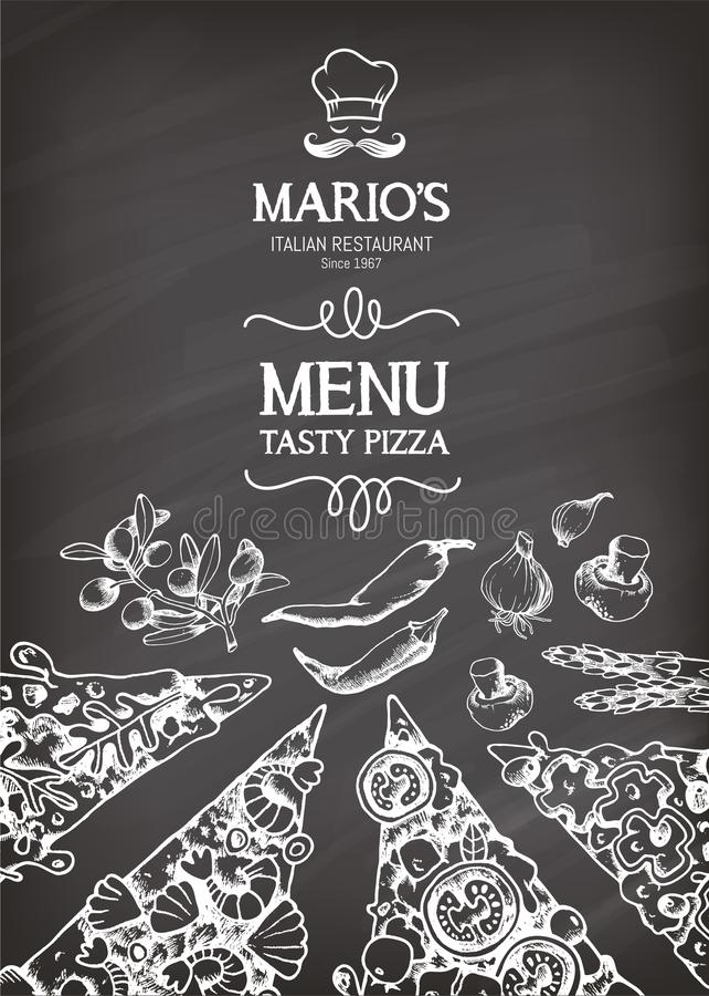 Ejemplo del vector para un menú italiano de la pizza libre illustration