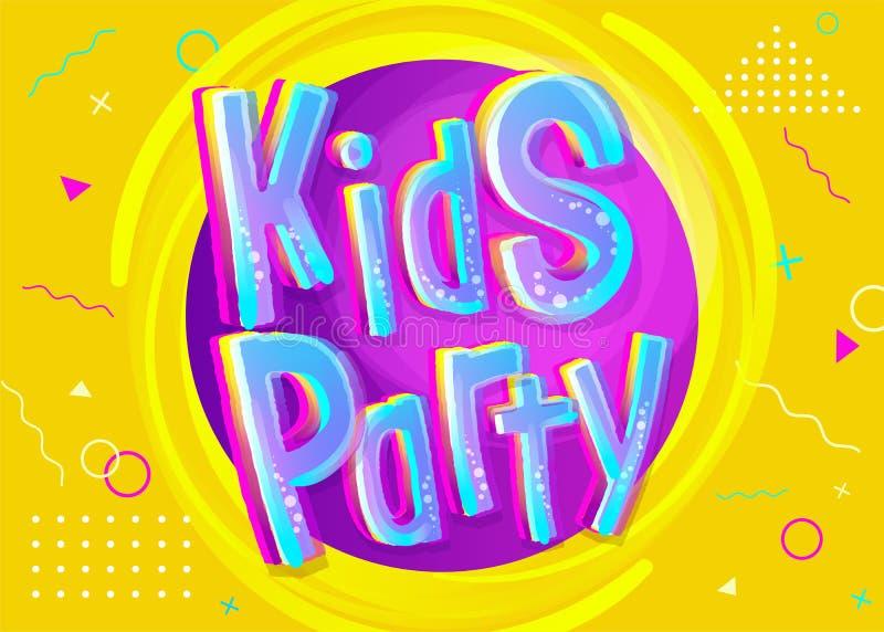 Ejemplo del vector del partido de los niños en estilo de la historieta stock de ilustración