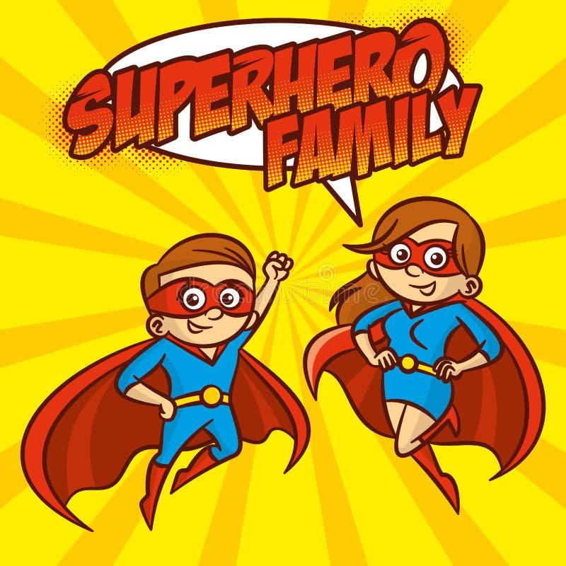 Ejemplo del vector del personaje de dibujos animados de los super héroes de la familia del super héroe ilustración del vector