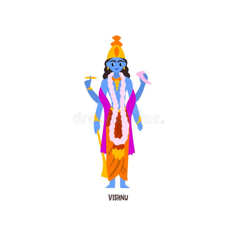 Ejemplo del vector del personaje de dibujos animados de Vishnu Indian God en un fondo blanco libre illustration