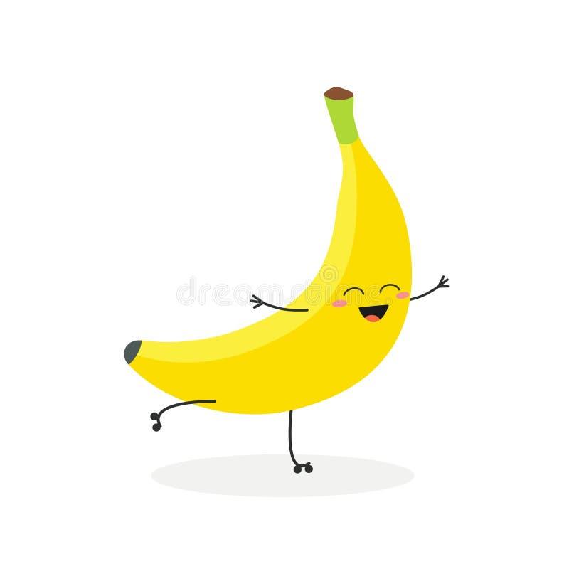 Ejemplo del vector del plátano feliz de la historieta rollerblading stock de ilustración