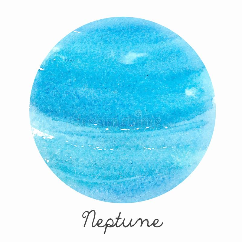 Ejemplo del vector del planeta de Neptuno de la acuarela libre illustration