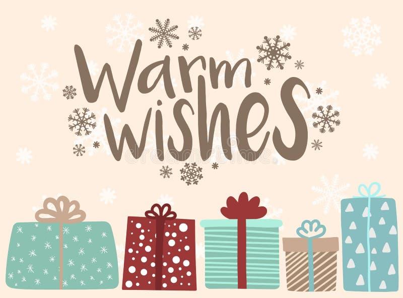 Ejemplo del vector por Año Nuevo y la Navidad Imagen a mano de los regalos de la historieta en un fondo de copos de nieve con un  stock de ilustración