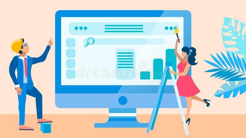 Ejemplo del vector del proceso de desarrollo de la página web UI stock de ilustración