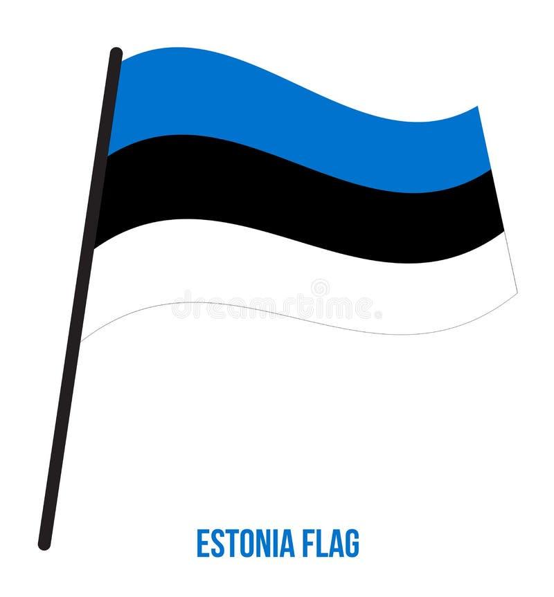 Ejemplo del vector que agita de la bandera de Estonia en el fondo blanco Indicador nacional de Estonia stock de ilustración